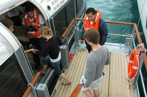 cruise passengers embark tender